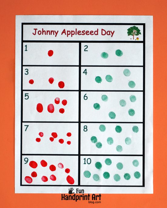 Johnny Appleseed Day Activity - Fingerprint Apple Counting