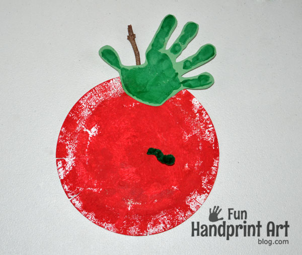 Paper Plate Apple Handprint Craft