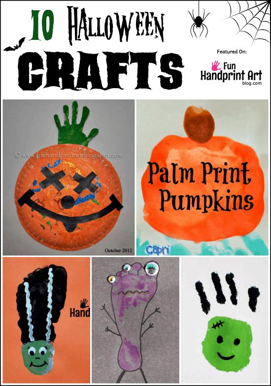 Fun Halloween Crafts made with Handprints & Footprints