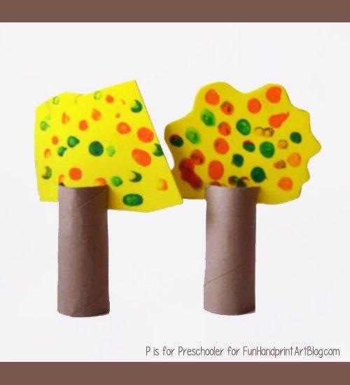 Cardboard Tube Craft - Fall Fingerprint Tree