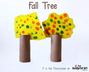 Cardboard Tube Craft: Fall Fingerprint Tree