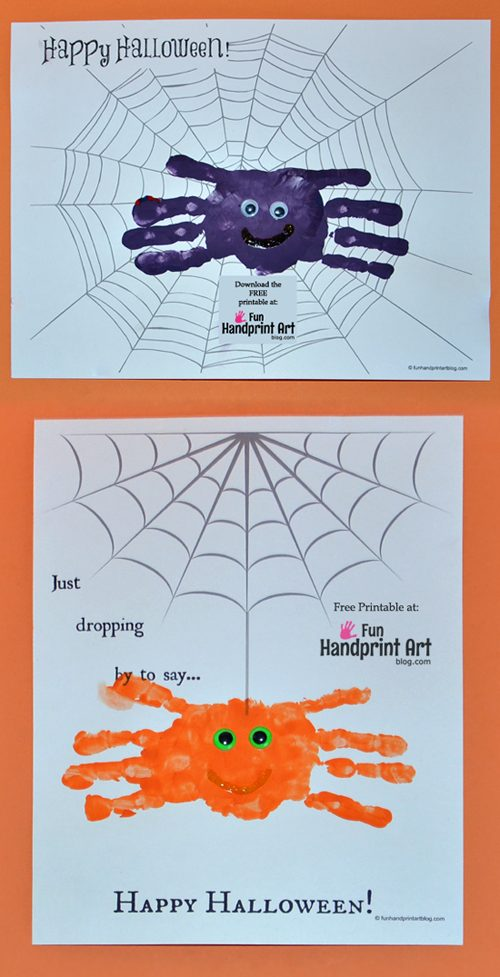 Free Halloween Printables for Kids -  Create Handprint Spiders