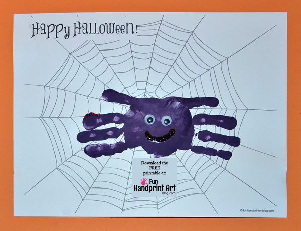 Free Spider Web Printable and Handprint Spider Craft