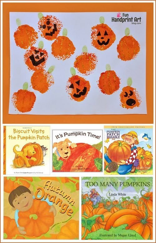 Fingerprint Art: Pumpkin Patch Craft and Books about Pumpkins