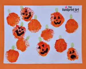 Fingerprint Art: Stamped Pumpkin Patch Craft for Kids
