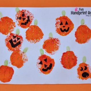 Fingerprint Art: Stamped Pumpkin Patch Craft