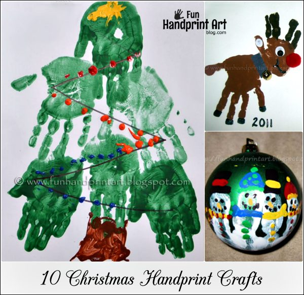 10 different handprint crafts for Christmas