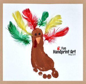 Footprint Turkey with Feathers Thanksgiving Craft Keepsake