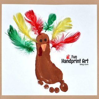 Footprint Turkey with Feathers Thanksgiving Craft Keepsake