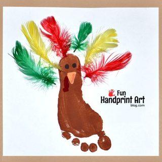 Make a Footprint Turkey using Feathers!