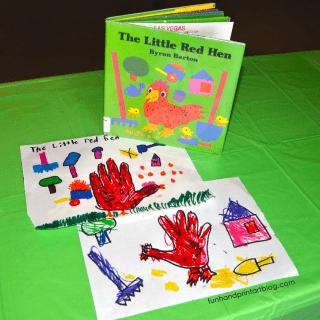 The Little Red Hen Handprint Craft