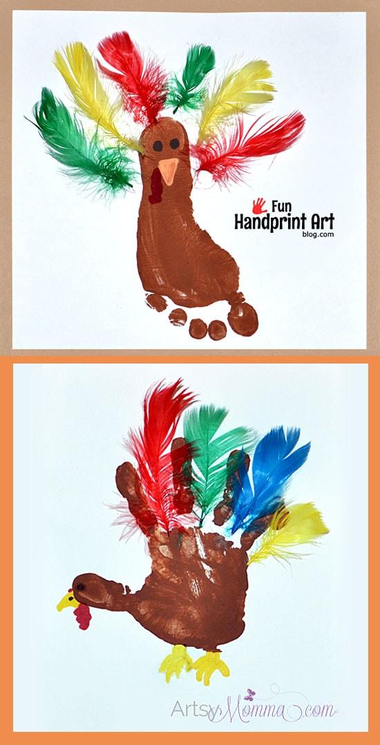 Thanksgiving Handprint Footprint Turkeys