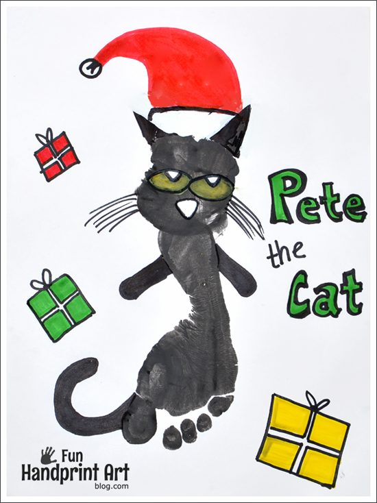 Footprint Pete the Cat Craft - Pete the Cat Saves Christmas
