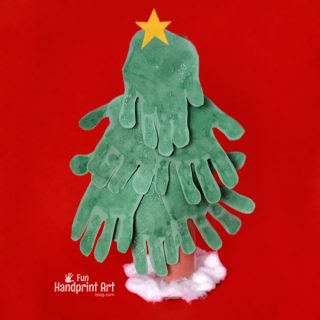Cardboard Tube Christmas Tree Craft made with Handprints