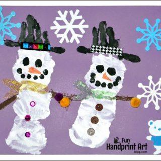 Handprint Snowman Preschool Craft