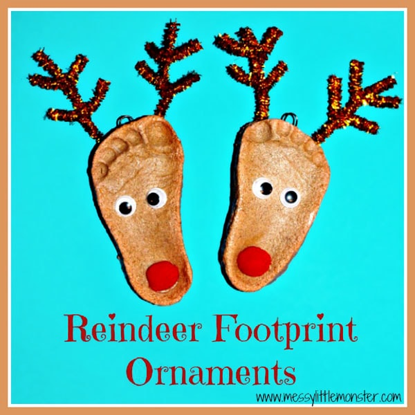 Salt dough salt dough crafts reindeer footprint ornaments fun