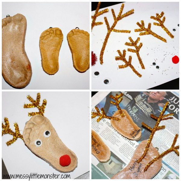 Making Reindeer Footprint Ornaments from Salt Dough