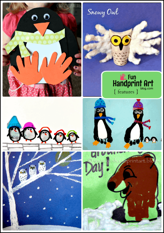 Handprint Winter Animal Crafts for Kids
