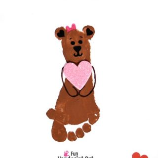 Free Printable I Love You Bear-y Much Footprint Craft