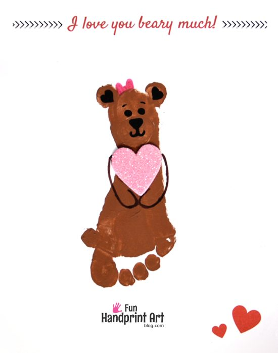 Free I Love You Bear-y Much Printable Footprint Bear Card