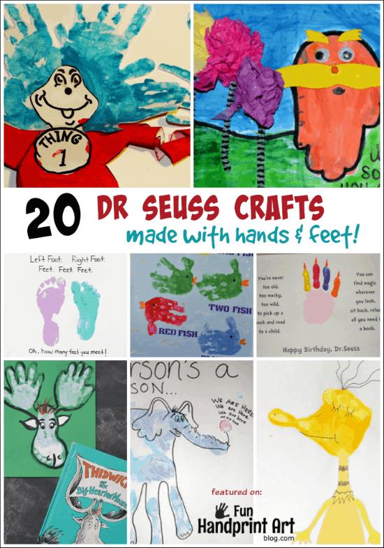 20 Dr Seuss Crafts made with Hands & Feet! featured on Funhandprintartblog.com