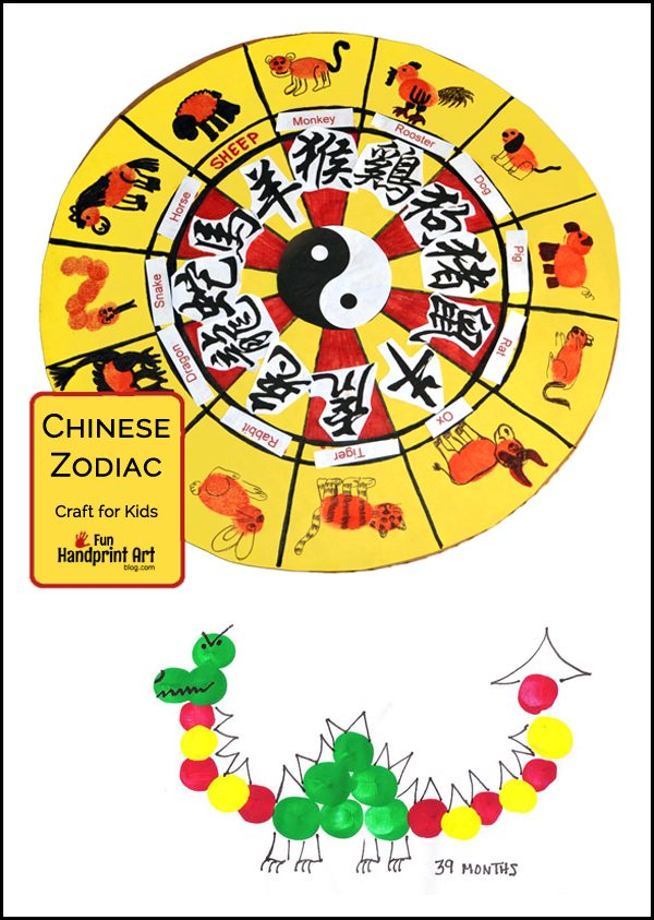 Chinese New Year Zodiac and Dragon Fingerprint Crafts for Kids