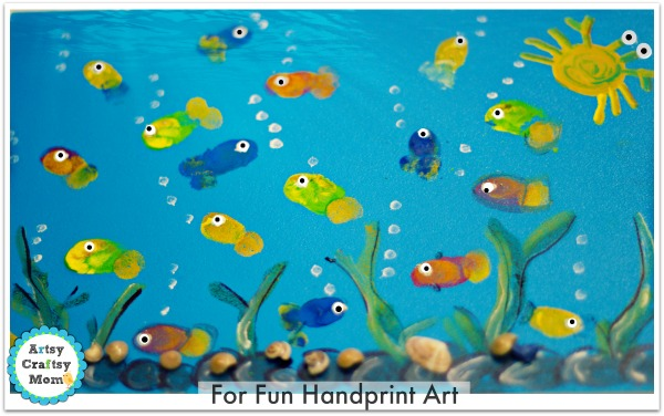 fingerprint fish aquarium craft fun handprint art