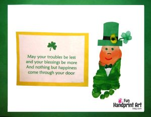 Footprint Leprechaun Craft with Cute St Patrick's Day Saying