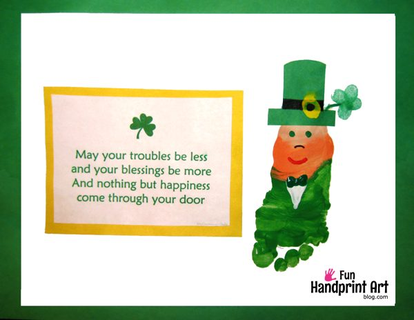 picture regarding Leprechaun Feet Printable known as Footprint Leprechaun Craft Wee Leprechaun Footprints