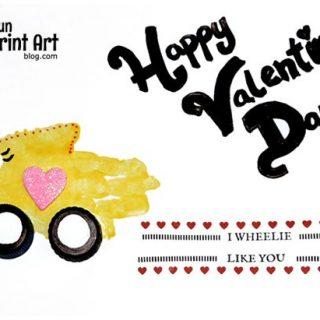 I Wheelie Like You Handprint Car Valentine
