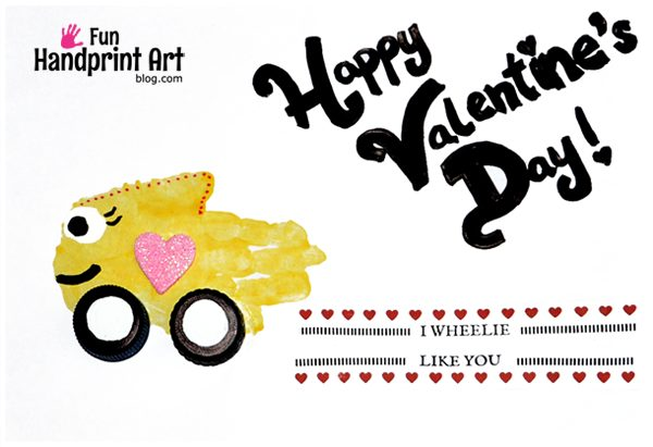 I Wheelie Like You Handprint Car Valentine