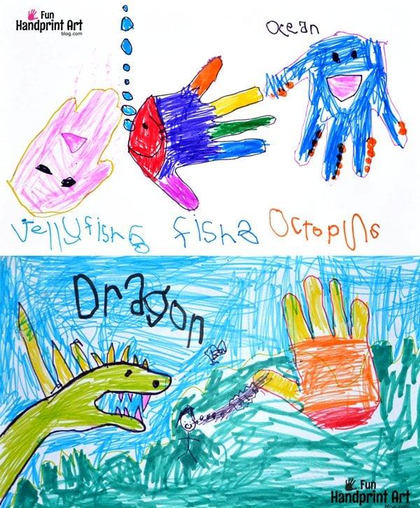 Kids Art: Handprint Drawings of Animals