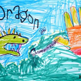 Kids Hand Drawings: Ocean Animals and Dragon with Fire