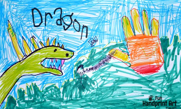 Kids Hand Drawings Ocean Animals And Dragon With Fire Fun