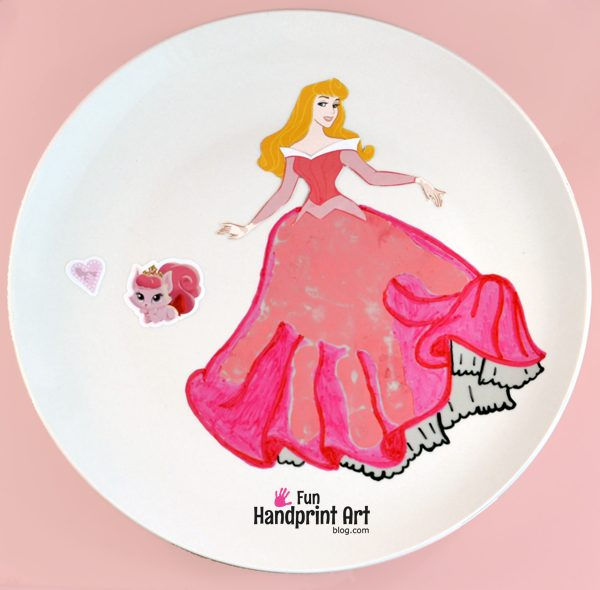 Sleeping Beauty Handprint Plate Keepsake Craft