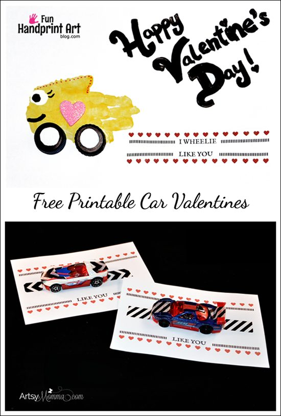 Toy Car Valentines with Printable Saying
