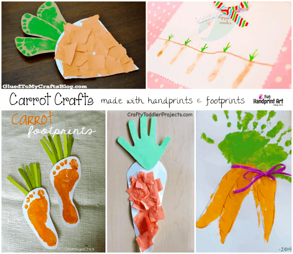 Carrot Carafts made with Handprints and Footprints | Kids Easter Crafts