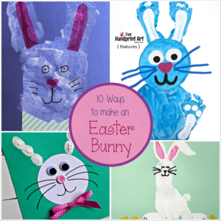 10 Ways to make an Easter Bunny with Prints from Hands and Feet