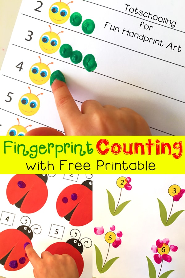 Fingerprint Counting Printables for Spring - Fun Handprint Art