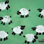 Fingerprint and Loofah Stamped Sheep Craft