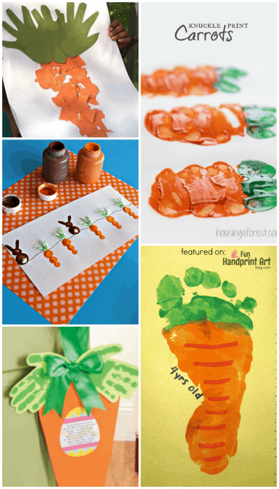 Carrot Crafts made with Handprints and Footprints for Easter or a Vegetable Unit