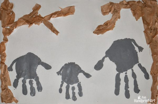 Kids Collage Art Handprint Elephant Jungle Craft Fun Handprint Art