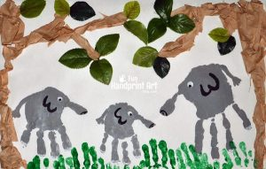 Kids Collage Art: Handprint Elephant Jungle Scene