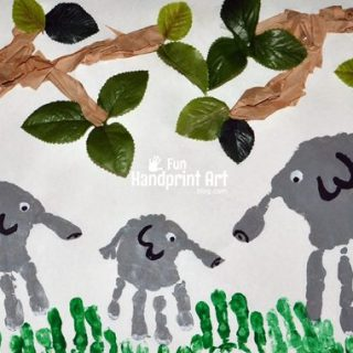 Kids Collage Art: Handprint Elephant Jungle Craft