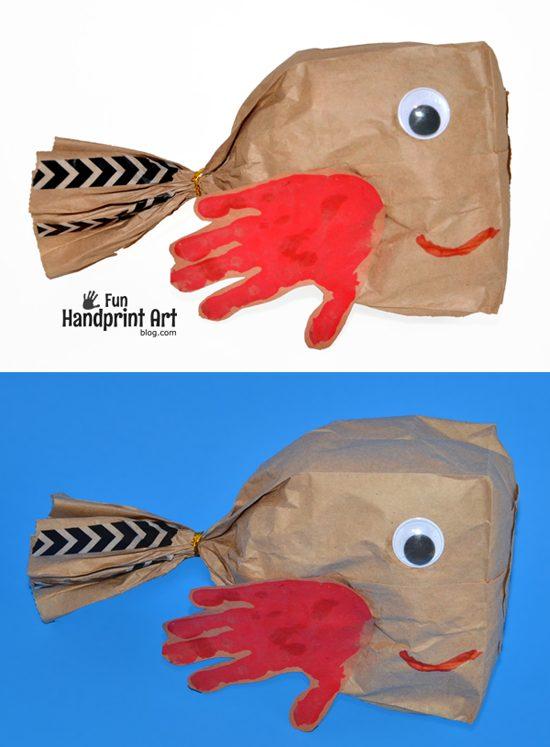 Handprint Paper Bag Fish Craft