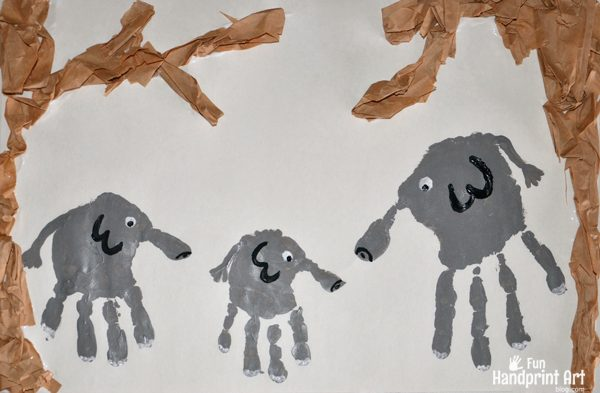 Jungle Craft for Kids: Handprint Elephant Family