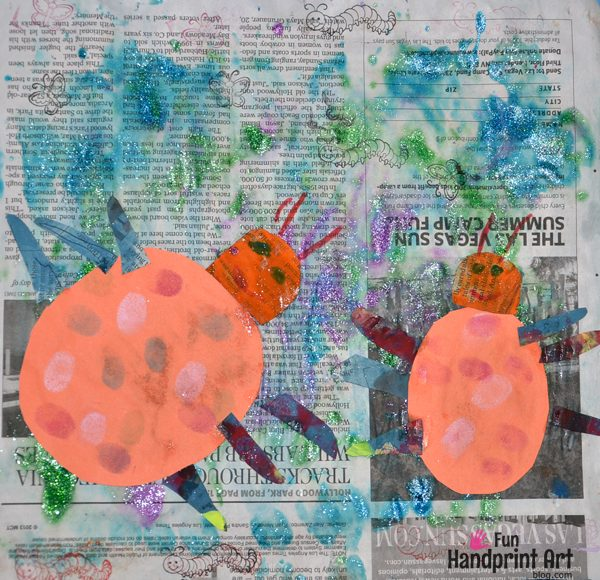 Painting on Newspaper: Ladybug Craft