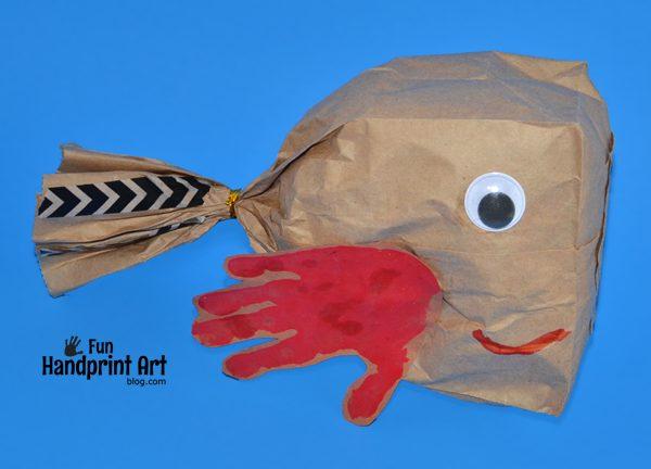 Paper Bag Fish Handprint Craft