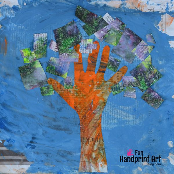 Recycled Newspaper Art - Handprint Tree Process Painting Craft
