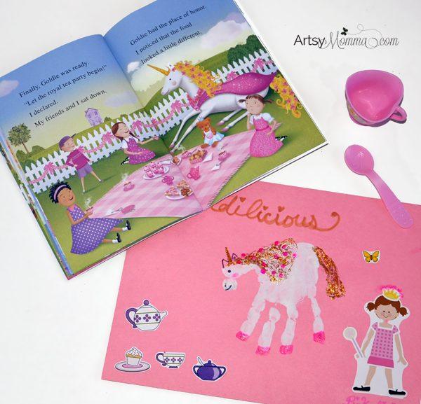 Goldilicious and Pinkalicious  Books + Handprint Unicorn Craft